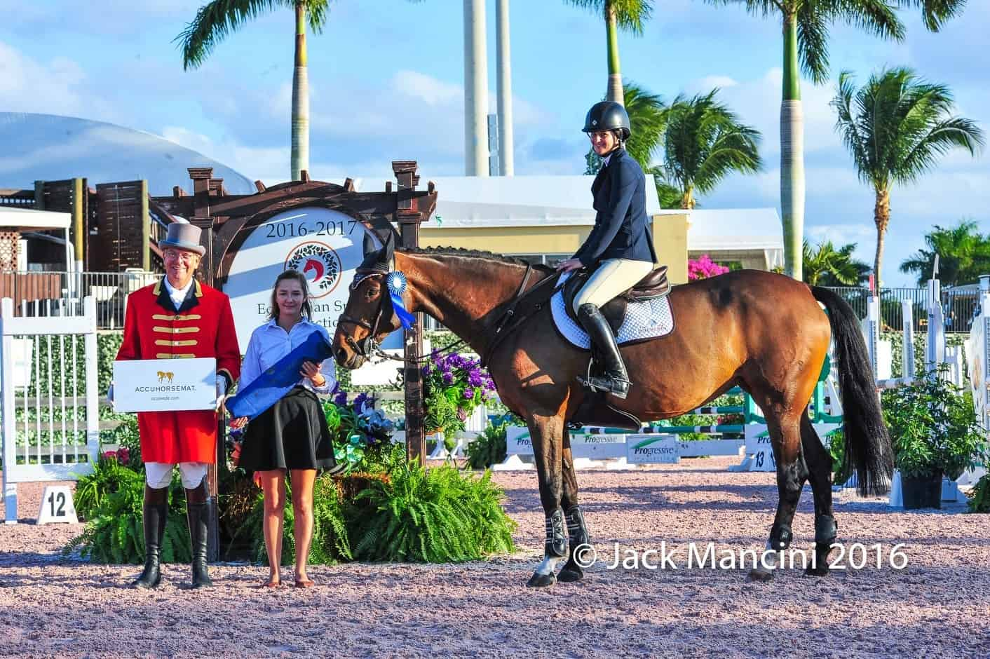 Lindsey Tomeu Wins Accuhorsemat Adult Jumper Class at Holiday & Horses Show in Wellington
